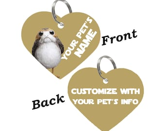 Disney Star Wars Porg Double Sided Pet Id Tag for Dogs & Cats Personalized for Your Pet