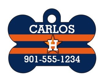 Houston Astros Pet Id Dog Tag Personalized w/ Your Pet's Name and Number
