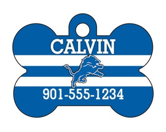 Detroit Lions Pet Id Dog Tag Personalized w/ Your Pet's Name and Number