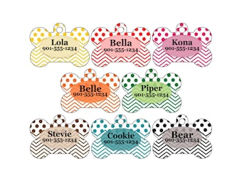 Personalized Dog Tag Pet Id w/ Your Pet's Name & Number, Colorful Polka Dot Chevron