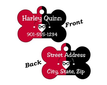 Harley Quinn Custom Double Sided Pet Id Dog Tag Personalized w/ up to 4 Lines of Text