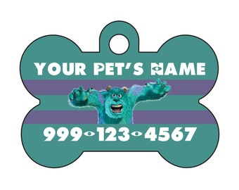 Disney Monsters Inc Sulley Pet Id Dog Tag Personalized w/ Name and Number