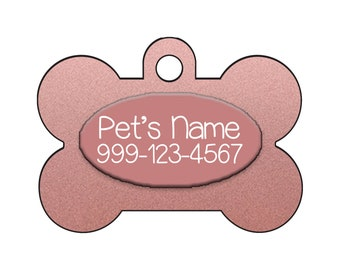 Stylish Cute Rose Gold Pet Id Dog Tag Personalized for Your Pet