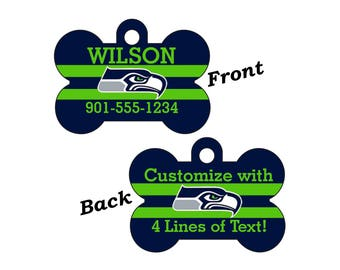 Seattle Seahawks Double Sided Pet Id Tag for Dogs and Cats Personalized w/ 4 Lines of Text
