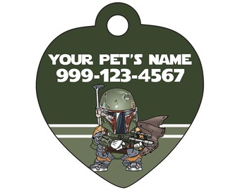 Boba Fett Pet Id Tag for Dogs and Cats Personalized w/ Name & Number