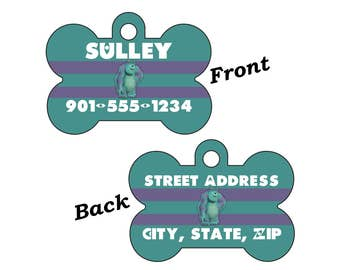 Disney Monsters Inc Sulley Double Sided Pet Id Dog Tag Personalized w/ 4 Lines of Text