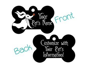 Zero Disney Nightmare Before Christmas Double Sided Custom Pet Id Dog Tag Personalized for your Pet