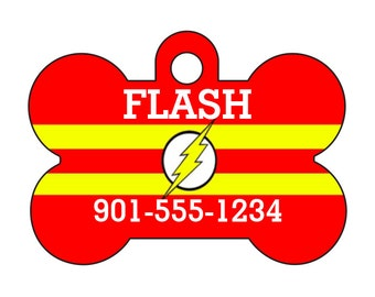 The Flash Custom Pet Id Dog Tag Personalized w/ Your Pet's Name & Number