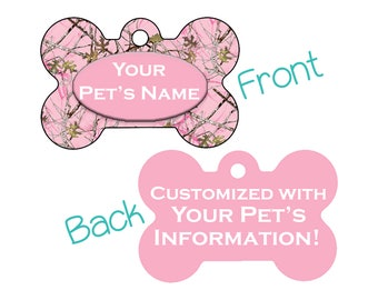 Camo Double Sided Pet Id Dog Tag | Pink Realtree Camo | Personalized for your Pet!