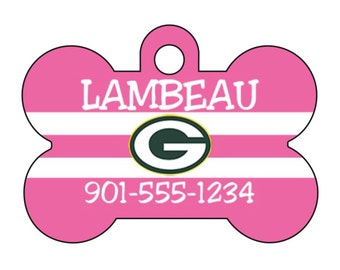 Green Bay Packers Pink Pet Id Dog Tag Personalized w/ Your Pet's Name and Number