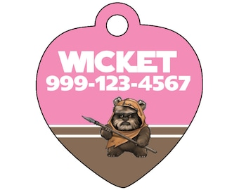 Disney Star Wars Ewok Pink Pet Id Tag for Dogs and Cats Personalized w/ Name & Number