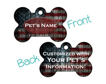 American Flag | Rustic Double Sided Pet Id Dog Tag | Personalized w/ 4 Lines of Text