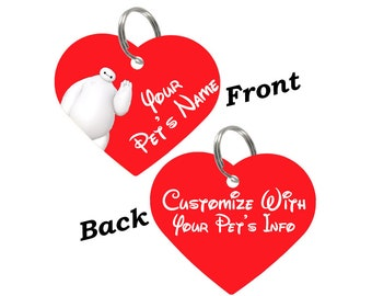Disney Baymax Double Sided Heart Pet Id Tag for Dogs & Cats Personalized for Your Pet