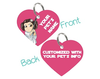 Disney Star Wars Princess Leia Pet Id Tag for Dogs & Cats Personalized for Your Pet