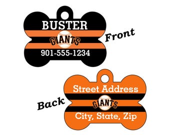 San Francisco Giants Double Sided Custom Pet Id Dog Tag Personalized w/ 4 Lines of Text