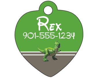 Disney Toy Story Rex Pet Id Tag for Dogs & Cats Personalized w/ Your Pet's Name and Number