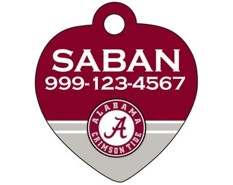Alabama Crimson Tide Custom Pet Id Tag for Dogs and Cats Personalized w/ Name & Number