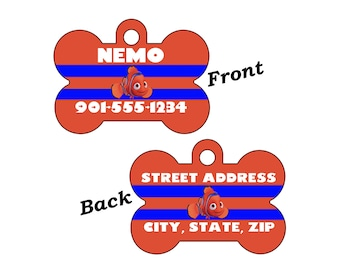Disney Finding Nemo Double Sided Pet Id Dog Tag Personalized for your Pet