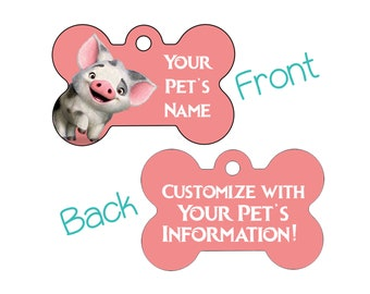 Disney Moana Pua Double Sided Custom Pet Id Dog Tag Personalized for your Pet