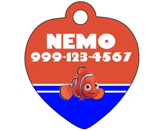 Disney Finding Nemo Pet Id Tag for Dogs and Cats Personalized w/ Your Pet's Name & Number