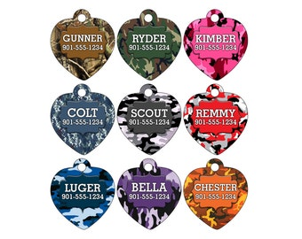 Camo Custom Pet Id Tag for Dogs & Cats Personalized w/ Your Pet's Name and Number