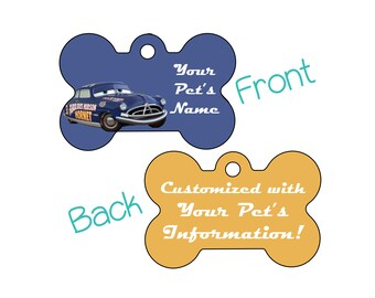 Fabulous Hudson Hornet | Disney Cars Doc | Double Sided Pet Id Dog Tag | Personalized for your Pet