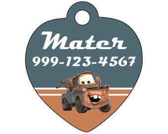 Disney Cars Tow Mater Custom Pet Id Tag for Dogs and Cats Personalized for Your Pet