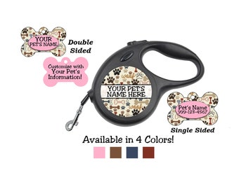 Cute Bones and Paw Prints Custom Pet Id Dog Tags & Retractable Leash Personalized for Your Pet