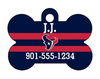 Houston Texans Pet Id Dog Tag Personalized w/ Your Pet's Name and Number