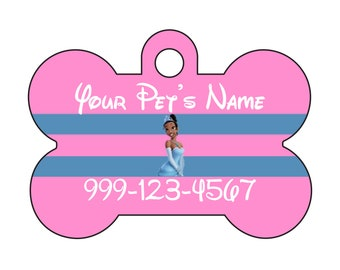 Disney Princess Tiana Pet Id Dog Tag Personalized w/ Name & Number