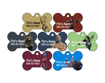 Disney Guardians of the Galaxy Pet Id Dog Tag | Personalized w/ Your Pet's Name and Number