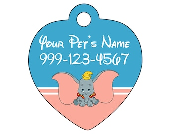 Disney Dumbo Pet Id Tag for Dogs & Cats Personalized w/ Your Pet's Name and Number