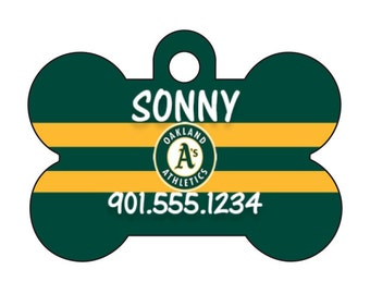 Oakland Athletics Personalized Dog Tag Pet Id Tag w/ Your Pet's Name and Number