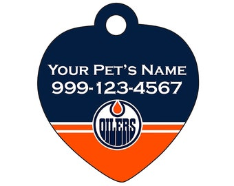 Edmonton Oilers Pet Id Tag for Dogs & Cats | Personalized for Your Pet | Fits all Dogs and Cats!