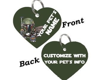 Disney Star Wars Boba Fett Double Sided Pet Id Tag for Dogs & Cats Personalized for Your Pet