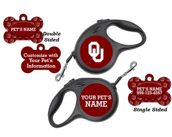 Oklahoma Sooners Pet Id Dog Tags & Retractable Leash Personalized for Your Pet