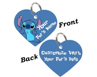 Disney Stitch Double Sided Pet Id Tag for Dogs & Cats Personalized for Your Pet
