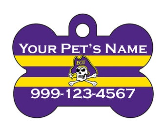 East Carolina Pirates Custom Pet Id Dog Tag Personalized w/ Your Pet's Name and Number