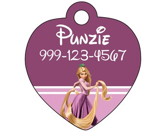 Disney Princess Rapunzel Pet Id Tag for Dogs and Cats Personalized w/ Your Pet's Name & Number