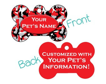 Camo Double Sided Pet Id Dog Tag | Red Camo | Personalized for your Pet!