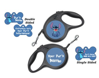 Disney Stitch Pet Id Dog Tags & Retractable Leash Personalized for Your Pet