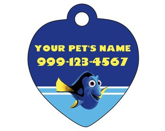 Disney Finding Dory Pet Id Tag for Dogs and Cats Personalized w/ Your Pet's Name & Number