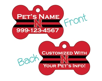 Nebraska Cornhuskers 2-Sided Pet Id Dog Tag | Officially Licensed | Personalized for Your Pet