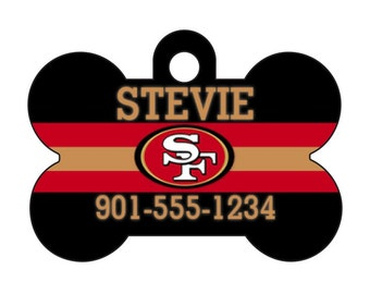 San Francisco 49ers Pet Id Dog Tag Personalized w/ Your Pet's Name and Number