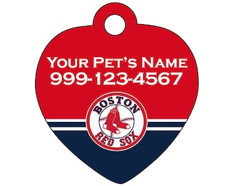 Boston Red Sox Pet Id Tag for Dogs and Cats Personalized w/ Your Pet's Name and Number