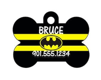 Batman Custom Pet Id Dog Tag Personalized w/ Name & Number