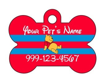 Disney Winnie the Pooh Pet Id Dog Tag Personalized w/ Your Pet's Name & Number