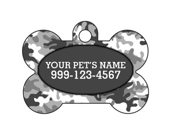Fashionable Cute Gray Camo Pet Id Dog Tag Personalized for Your Pet