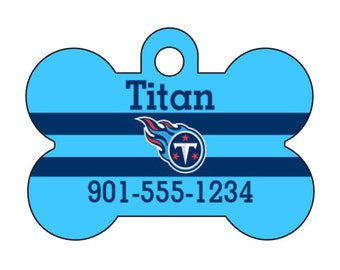 Tennessee Titans Pet Id Dog Tag Personalized w/ Your Pet's Name and Number