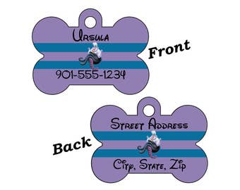 Disney Little Mermaid Ursula 2-SIDED Pet Id Tag for Dogs and Cats Personalized w/ 4 Lines of Text